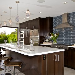 Upper Kitchen Cabinets With Glass Doors Elkay Sinks Undermount Custom Contemporary - Alder Wood Java ...