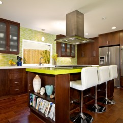 Kitchen Island With Built In Seating Light Custom Contemporary Cabinets - Alder Wood Java ...