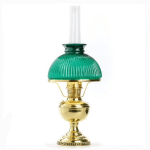 Aladdin Lamp Deluxe Brass Table Lamp With Green Ribbed Cased Glass Shade Imperial Lighting Co