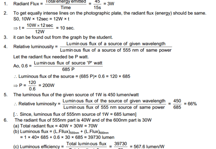 Photometry HC Verma Concepts of Physics Solutions