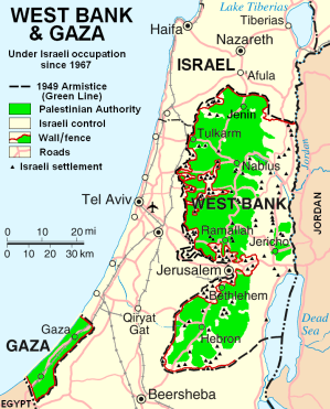 Israel, Gaza & West Bank (Wikipedia, Creative Commons)