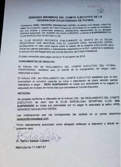 Ariel Nahuelpan pide suspensión para Barcelona SC (IMAGEN)