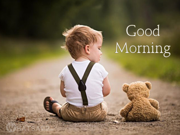 Cute Babies Good Morning Wallpapers Cute Baby With Teddy Bear Good Morning Image Impfashion