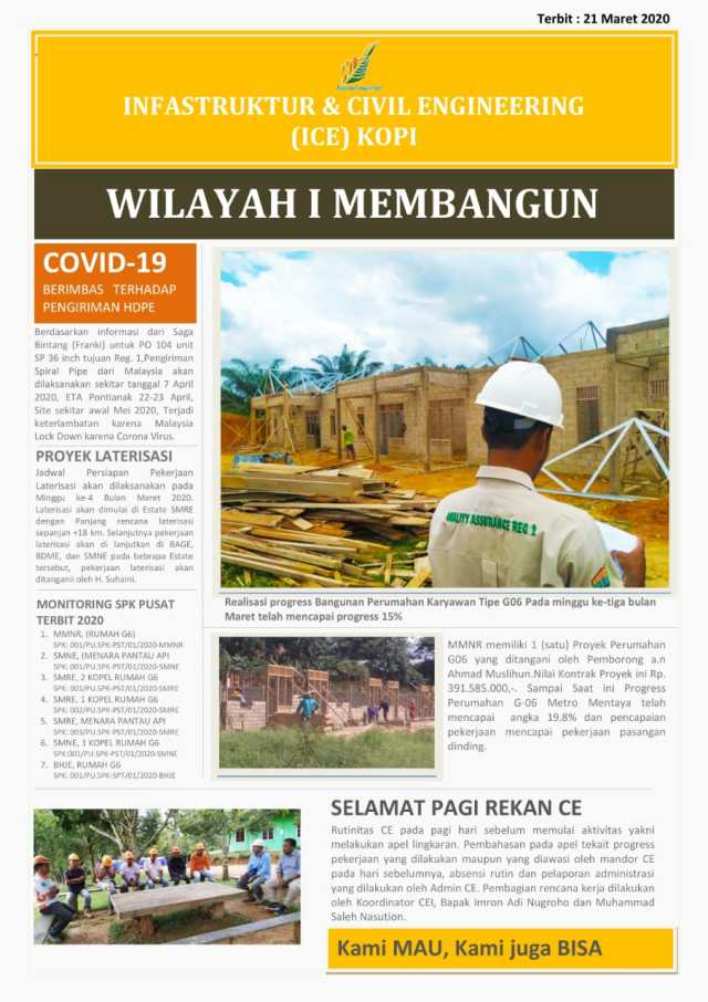 Koran Pagi Infrastruktur dan Civil Engineering (ICE), Kopi ICE - 21 Maret 2020