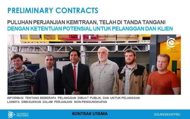 SolarGroup, Preliminary Contracts