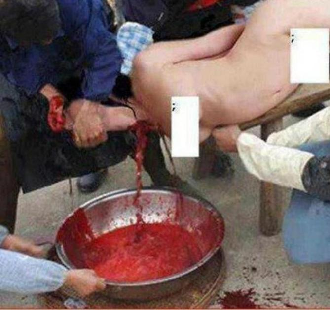 Islamists killing a woman by slitting her throat and capturing her blood in a bowl, holding her firm as her life literally drains from her neck. Such forms of execution are intended to intimidate others.