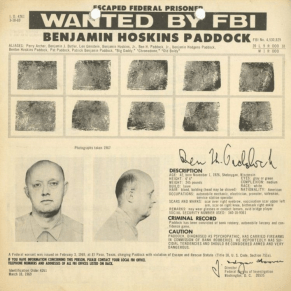 One such Giancana crime associate aided by the CIA, this report details, was Benjamin Hoskins Paddock—who was known by Chicago police authorities to be part of that cities crime syndicate in the 1950's—and whom, by 1960, had become a notorious bank robber who the FBI captured in Las Vegas, thereafter his being sentenced to serve 20 years in prison—but with, in 1968, the CIA breaking him out of the US Federal prison he was incarcerated in—thus causing the FBI to list him on their 10 Most Wanted List.