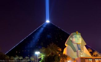 Full on view to the Las Vegas Pyramid and Sphinx overlooking the massacre site