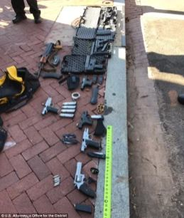 """Weapons arsenal discovered in the vehicle of Timothy Bates, that includes one """"bump stock"""" equipped AR-15 semi-automatic rifle"""