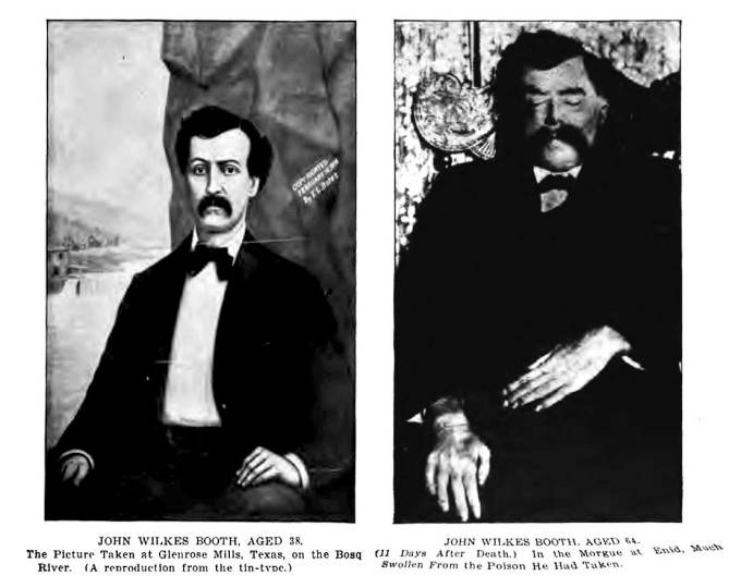 John Wilkes Booth at 38, and at death of suicide