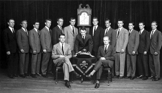 The Skull & Bones. That's Bush Sr., to the right of the clock.
