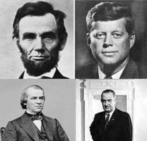 President Andrew Johnson escaped impeachment in 1868 by just one vote. He was under a cloud of suspicion for complicity in the Lincoln assassination after it was established he had met with John Wilkes Booth before the killing. Exactly 100 years later, another Southerner named Johnson, President Lyndon Baines Johnson, would quit politics under the suspicion of complicity in the Kennedy assassination.
