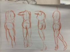 This set of gesture drawings was one of the first weeks in Life Drawing. Although they aren't the best in quality I like how they were roughly the same proportions.