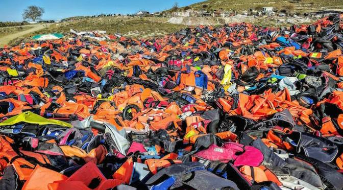 Lifejacket graveyard on Lesvos. Josh Webb volunteer interview.