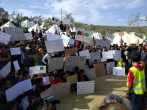 A protest organised jointly by volunteers and refugees at Moria camp