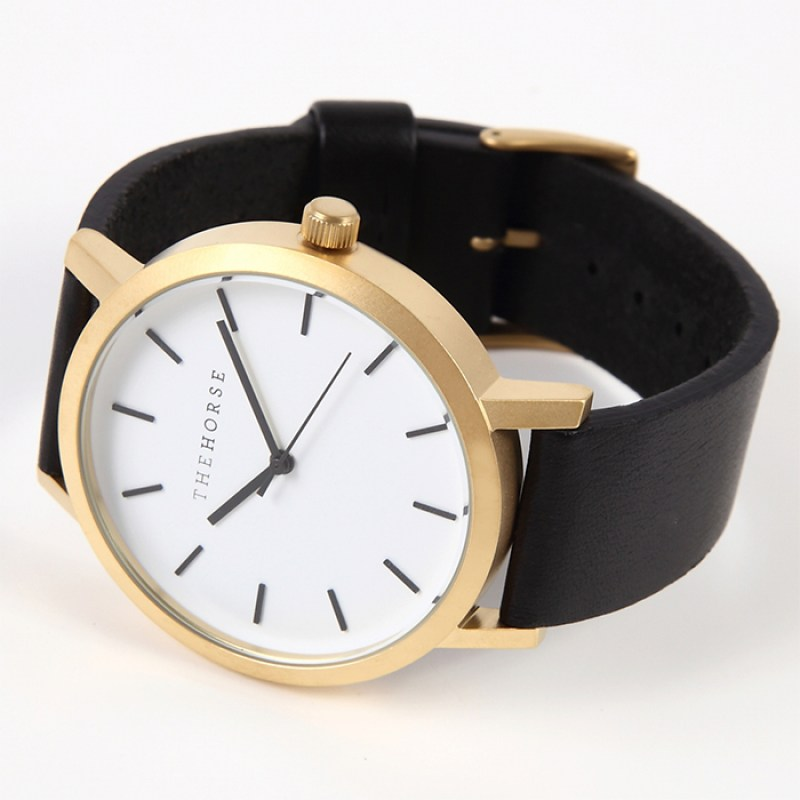 THE HORSE ザホース 時計 Brushed Gold / Black Leather 3
