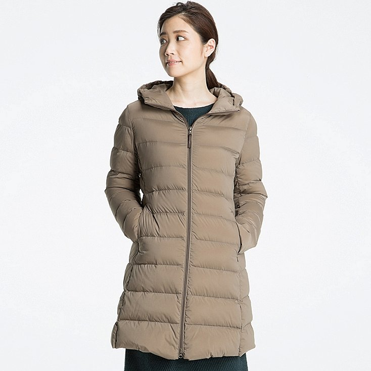 Importados Web Uniqlo Ultra Light Down Stretch Hooded Coat Mujer Beige