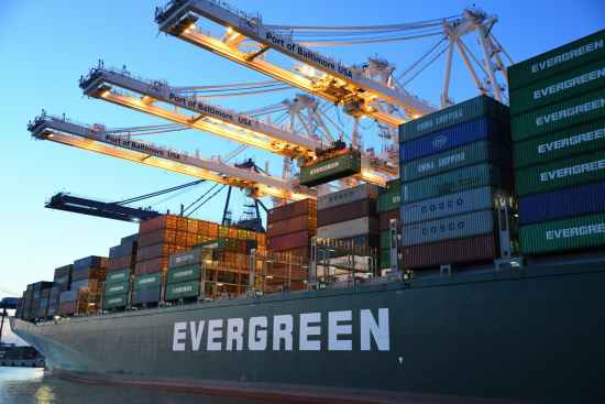 green and gray evergreen cargo ship