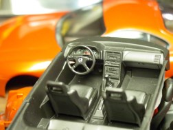 The temporarily completed interior including the steering wheel from a Hasagawa EG Civic kit.