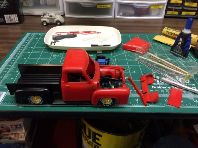 The rat truck in progress. The cab and pieces were stripped to clean up some nasty old paint.