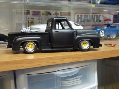 Towards the end of 2012, I experimented with painting white lettering on tires. The F100 was greatly improved!