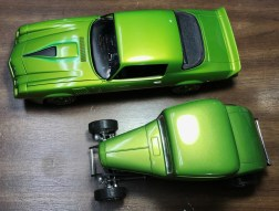 These are technically the same color. Boyd's Lime Pearl. Bought many years apart. I originally bought the bottle for a rework project on the 32 Ford but I felt the color wouldn't match and used it on the Camaro. I was right.