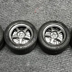 I sprayed the Buddy Club wheels for the CRX in Tamiya gunmetal and sealed them with clear.