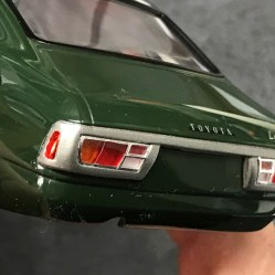The tail lights on the Toyota were challenging to complete. There is a chrome ring around the lenses and I carefully trimmed them in bare metal foil.