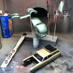 After I finished painting the 40 Ford body, I painted the engine bay and hood for the Chevelle.
