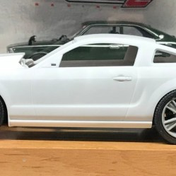 """I bought these Fireball Models wheels for another project and didn't use them because they are too big. They are advertised as scale 20"""". I measured them with digital calipers and converted the numbers and found that they are closer to 23"""". The tire tickness doesn't help either. Even though they are a little out of scale for this Mustang, I plan to use them."""