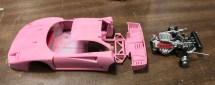 It was time to take the F40 build seriously and finish it. The parts were sprayed with Zero Paints pink primer.