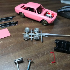 Once all of the Alfa's parts were painted, I quickly assembled the chassis and engine.