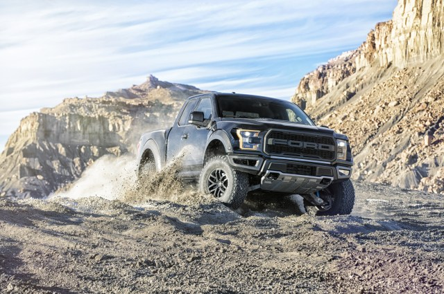 2017-Ford-F-150-Raptor-front-three-quarter-in-motion