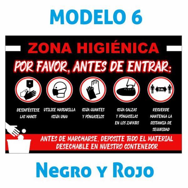 cartel zona higienica negro y rojo