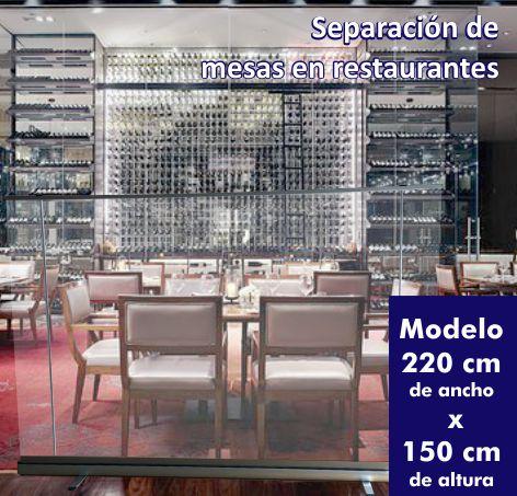 roll up transparente separacion mesas restaurantes