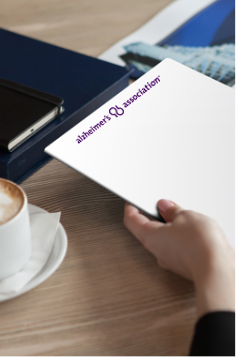 Memo pad with alzheimer's logo