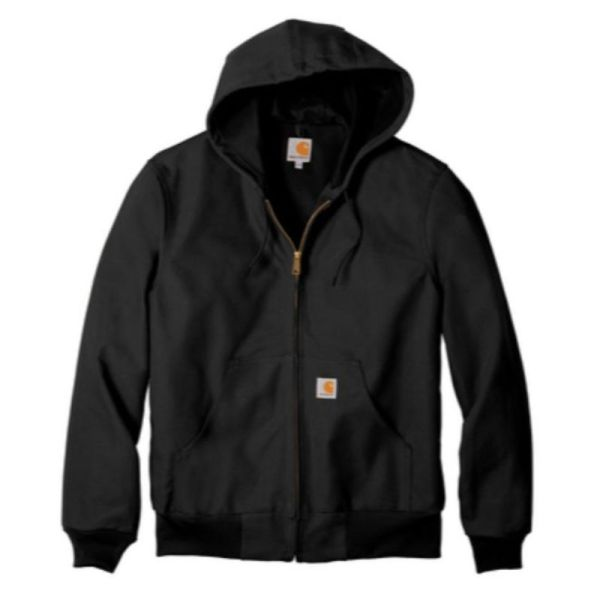Hooded insulated duck jacket, black