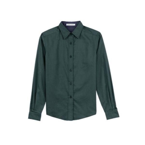 Ladies long sleeve shirt, Dark Green