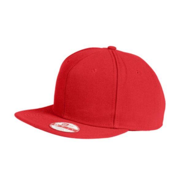 Flat bill snapback cap, red