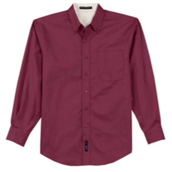 S608 Twill Dress Shirt Burgundy