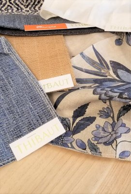 linen- denim-fabric- thibaut- sofa- window treatments- drapery- floral- farmhouse- eye candy- hastings- minnesota