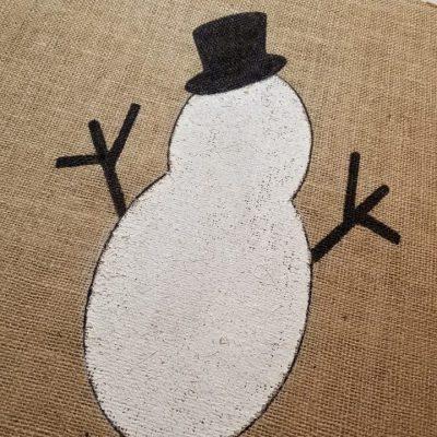 snowman- chalk paint- diy- burlap- pillow- snow- tutorial-education- interior design- decorating- hastings- minnesota- eye candy