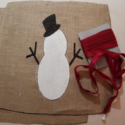 snowman- frosty- red- burlap- chalk paint- welt cord- interior design- diy- tutorial- pillow- hastings- minnesota- eye candy