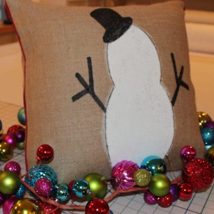 pillow- diy- handmade- gift idea- holiday- snowman- seasonal- christmas- diy- education- online class- impressive windows- hastings- minnesota