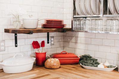 Kitchen with wood countertop, backsplash