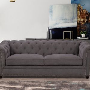 Gray tufted velvet sofa with high rolled arms