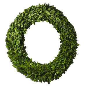 This superbly preserved green boxwood wreath is one of my favorite pieces. This is one of those pieces that belong in everyone's home. Indoor, dry use only.