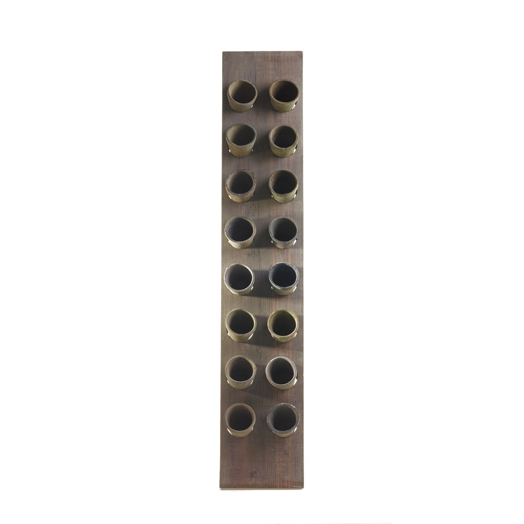 """Wooden plank and ceramic pot vertical garden. 2.5"""" x 10.5"""" x 56"""". With added faux succulents."""