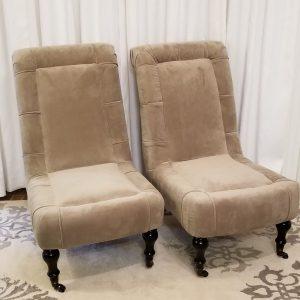 Taupe velvet slipper chair Impressive Windows & Interiors Hastings MN