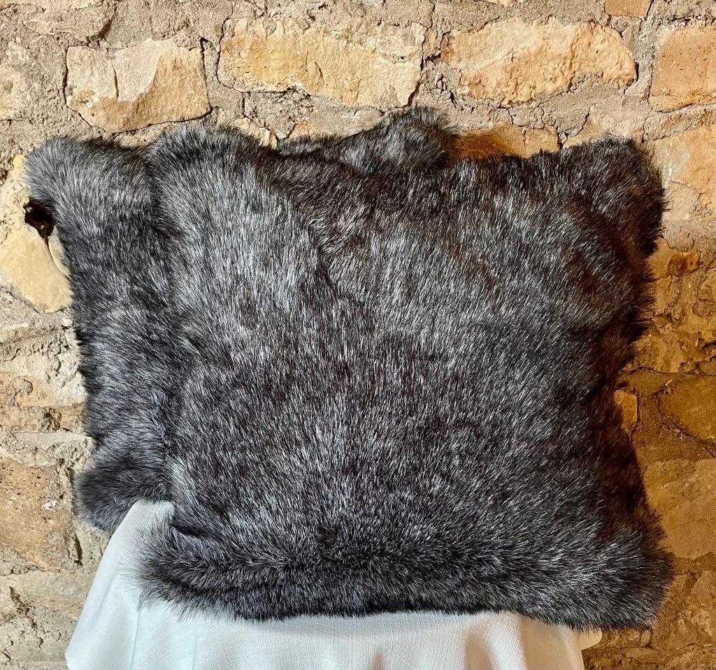 dark gray faux fur pillow